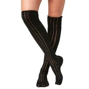 Free People Pointelle Over The Knee Socks, Black